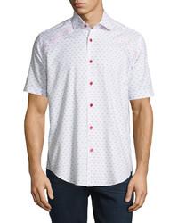 Bogosse Mini Patterned Short Sleeve Sport Shirt White
