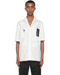 Fendi Off White Poplin Short Sleeve Shirt