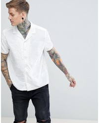 ASOS DESIGN Party Oversized Burntout Shirt With Revere Collar In White