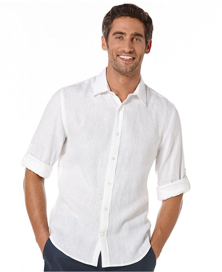 White Short Sleeve Shirt: Perry Ellis Solid Long Sleeve ...