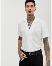 ASOS DESIGN Regular Fit Viscose Shirt In White