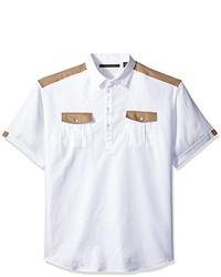 Sean John Big And Tall Short Sleeve Texture Popover Shirt