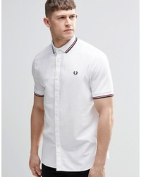 Fred Perry Shirt In Slim Fit With Knit Collar In White Short Sleeves