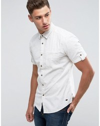 Esprit Short Sleeve Cotton Shirt With Fleck Detail