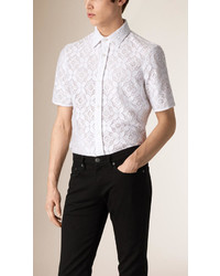 Burberry Short Sleeve Italian Lace Shirt