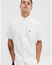 Lacoste Short Sleeve Oxford Shirt In White