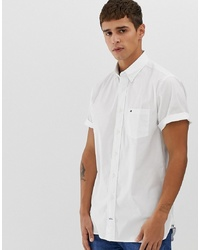 Tommy Hilfiger Short Sleeve Poplin Shirt Stretch Fit With Pique Flag Logo In White