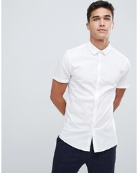 ASOS DESIGN Skinny Shirt In White With Short Sleeves