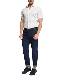Ermenegildo Zegna Solid Short Sleeve Sport Shirt White