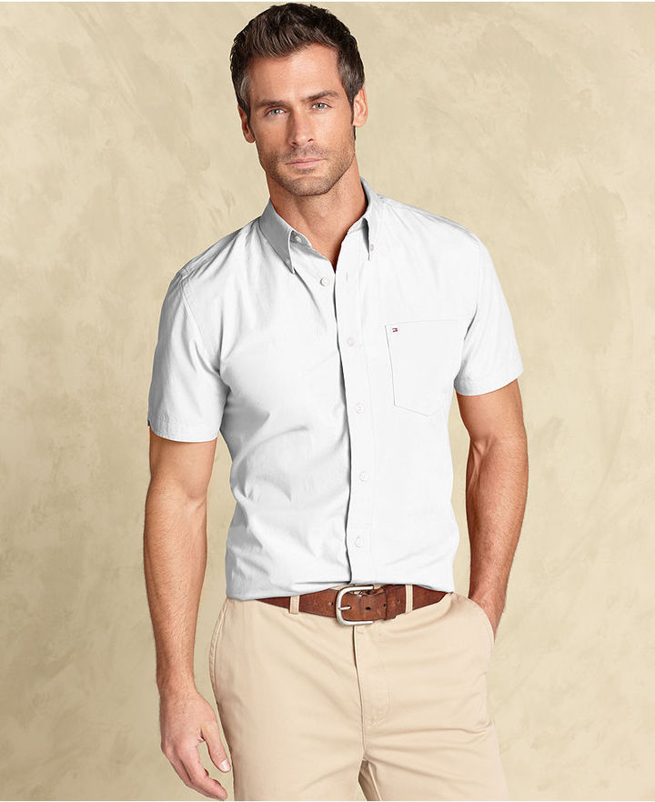 White short sleeve shirt tommy hilfiger shirt slim fit for Slim fit white button down shirt