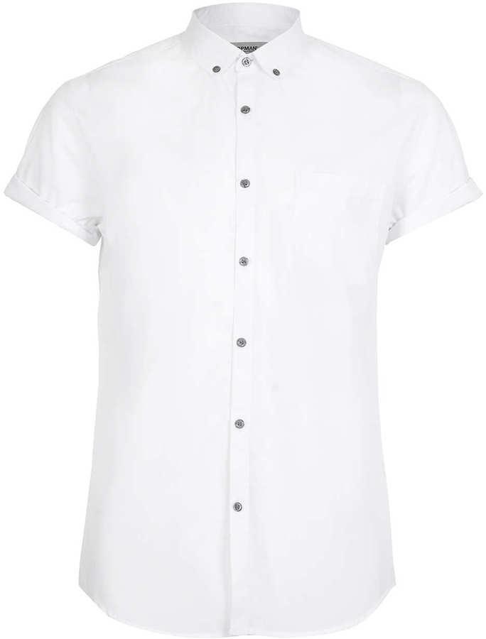 White short sleeve shirt topman white button down short for White short sleeve button down shirts for men