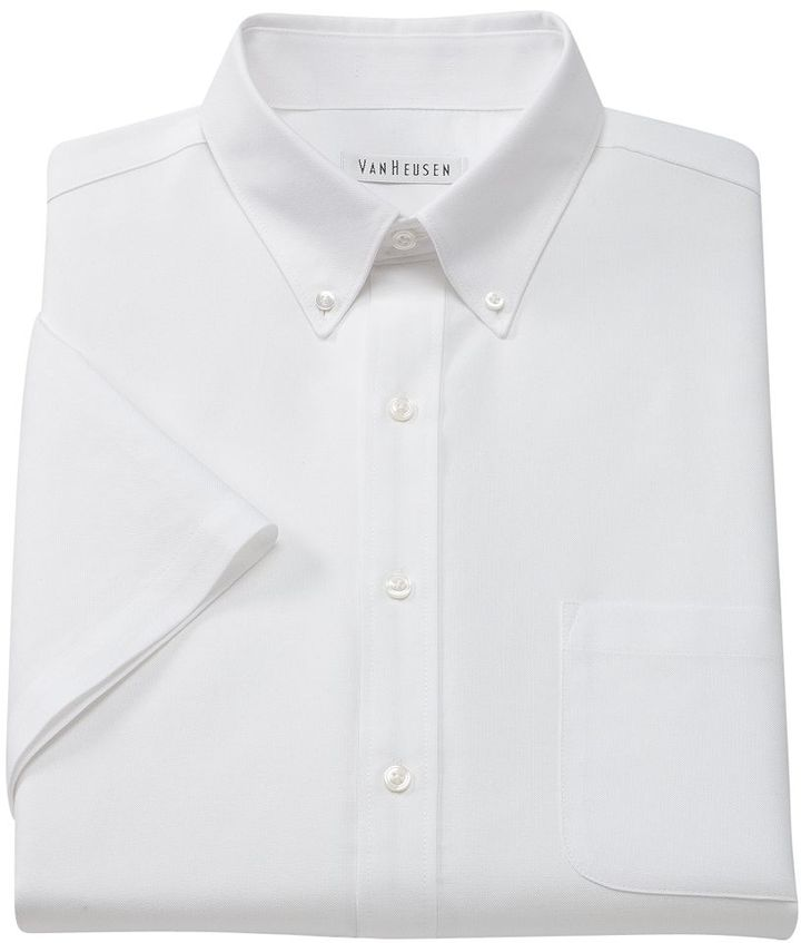 Van heusen regular fit oxford easy care button down collar for White button down collar oxford shirt