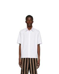 Fendi White Cotton Poplin Short Sleeve Shirt