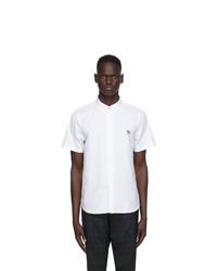 Ps By Paul Smith White Poplin Zebra Short Sleeve Shirt