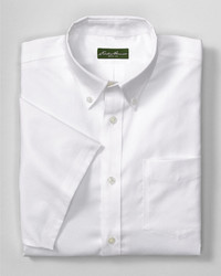 Eddie Bauer Wrinkle Free Relaxed Fit Short Sleeve Pinpoint Oxford Shirt Solid
