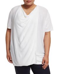 Lafayette 148 New York Plus Short Sleeve Draped Cardigan Sweater Plus Size