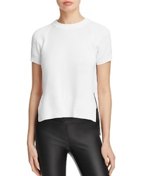 DKNY Ribbed Detail Short Sleeve Crewneck Sweater