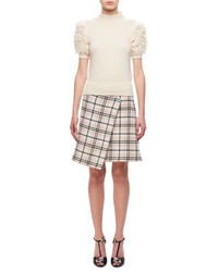 Short sleeve fringed knitted sweater medium 4156754