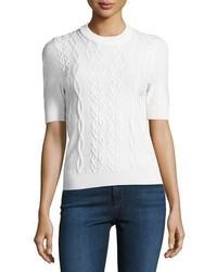 Twist knit short sleeve pullover top white medium 3719595