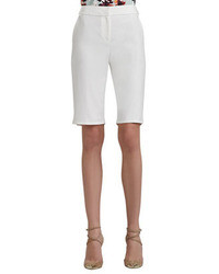 St. John Collection Doubleweave Stretch Cotton Bermuda Shorts