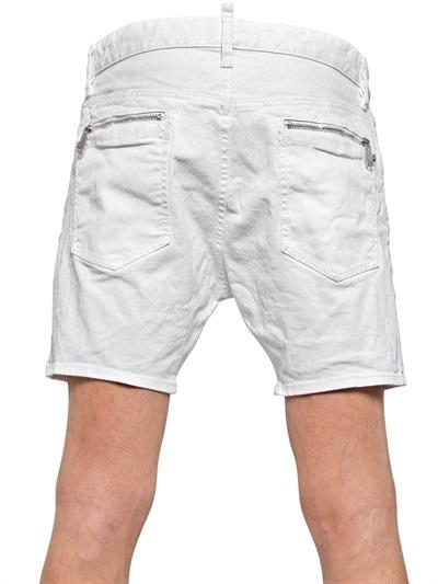 58ecb0d54f DSquared Wrinkled Wash Stretch Denim Shorts, $460   LUISAVIAROMA ...