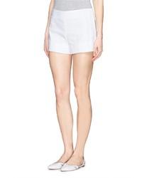 Tory Burch Notch Cuff Double Weave Cotton Shorts