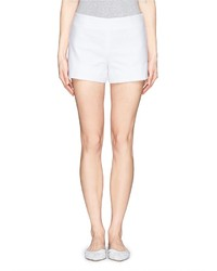 Tory Burch Notch Cuff Double Weave Cotton Shorts
