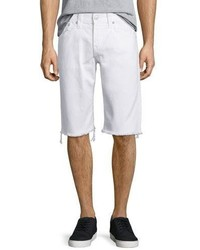 True Religion Ricky Flap Pocket Cutoff Shorts White
