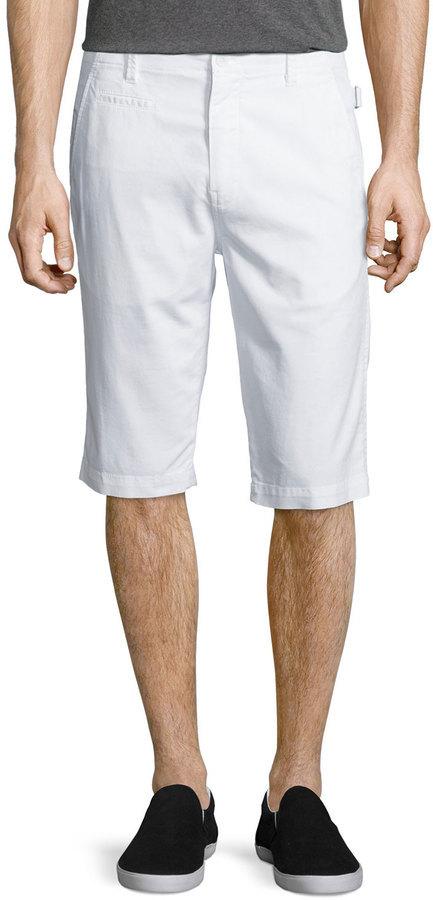Helmut Lang Side Adjuster Flat Front Shorts White