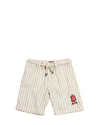 Striped Linen Cotton Blend Shorts
