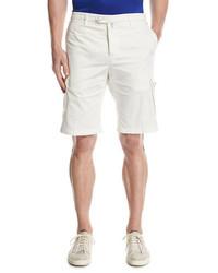 Kiton Twill Cargo Shorts White