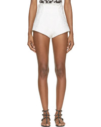 Mary Katrantzou White Alpahbet Jacquard Bloomer Shorts