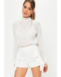 Missguided White Frill Side Highwaisted Shorts