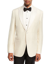 Brioni Satin Lapel Silk Dinner Jacket White