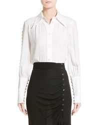 Michael Kors Michl Kors Button Sleeve Silk Blouse