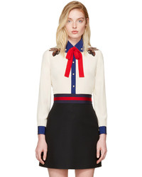Gucci Off White Silk Bee Blouse