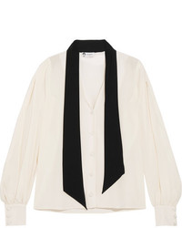 Lanvin Pussy Bow Two Tone Silk Crepe De Chine Blouse Ivory
