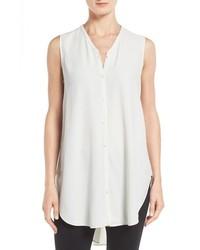 Eileen Fisher Silk Georgette Crepe Asymmetrical V Neck Top