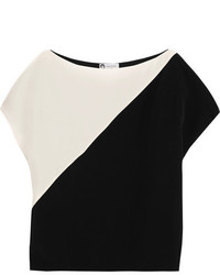 Lanvin Two Tone Silk Crepe De Chine Top Ivory