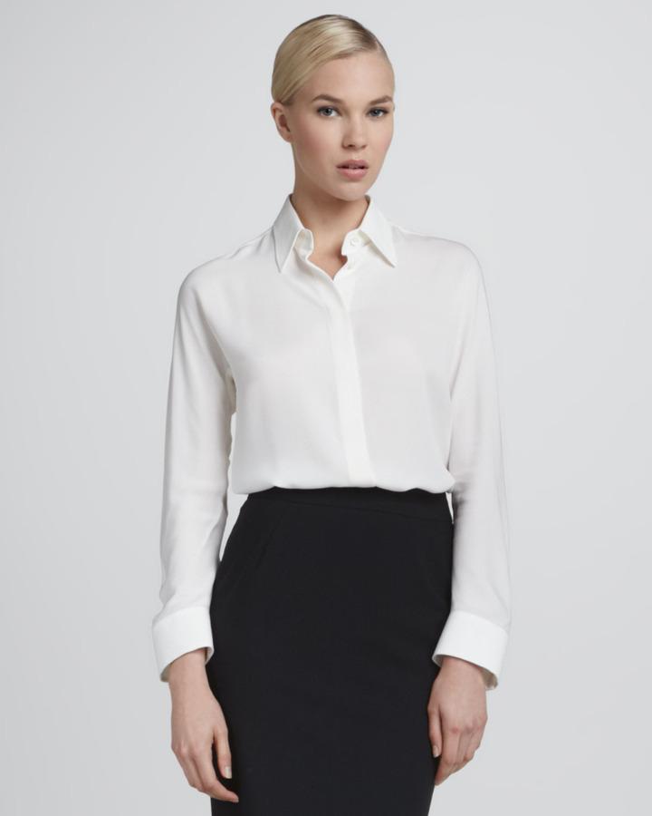 Giorgio armani silk button down blouse ivory where to for Silk button down shirt