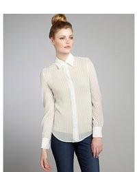 Loro Piana Mint Striped Silk Button Down Blouse