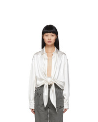 Saint Laurent Off White Silk Satin Tie Up Blouse