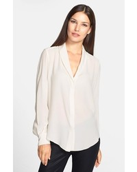 Rachel Roy Shawl Collar Silk Blouse Natural White Large