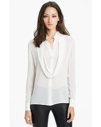 Saint Laurent Button Front Silk Georgette Blouse Natural 6 Us 38 Fr