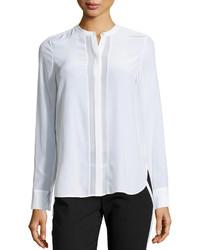 Vince Sheer Panel Long Sleeve Blouse Off White
