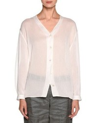 Giorgio Armani Sheer V Neck Button Front Blouse White