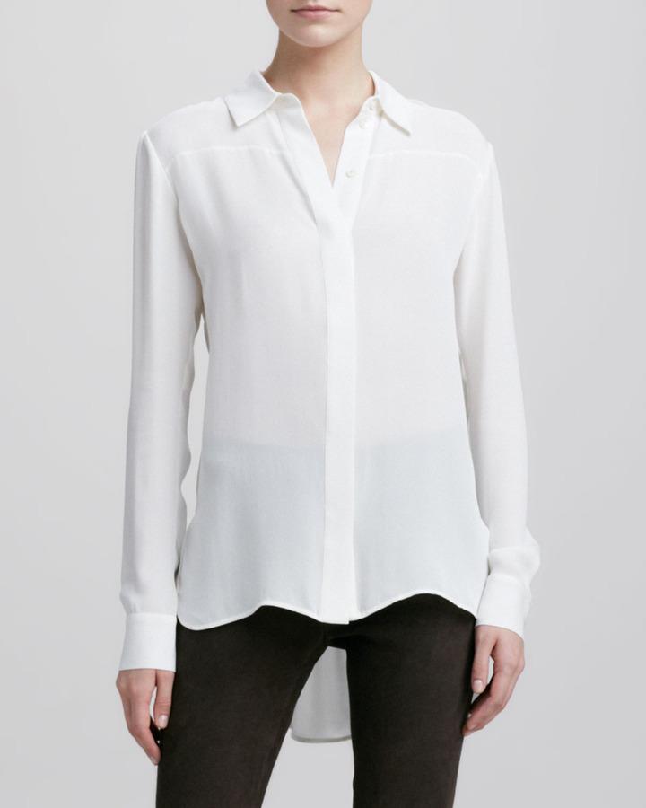 White silk button down blouse vince button down silk for Silk button down shirt