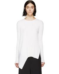 White Silk Crew-neck Sweater
