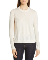 Tory Burch Silk Back Merino Wool Sweater