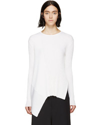 Stella McCartney White Asymmetric Rib Sweater